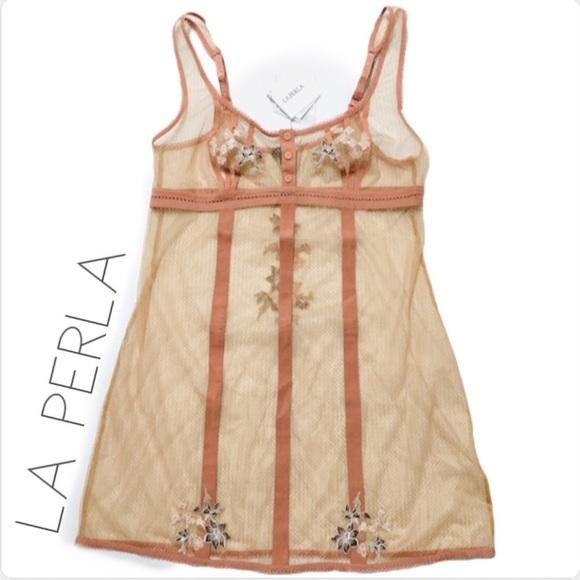 La Perla Donna Lucia Silk Embroiderd Babydoll Beige